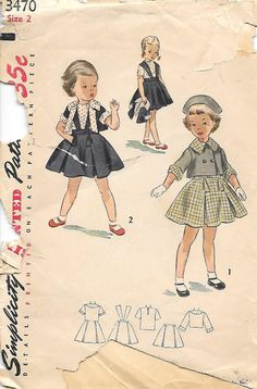 Simplicity 3470 Sewing Pattern - Childs Two-Piece Suit with Blouse  Size - Girls 2 Breast - 21 Waist - 20  Copyright - 1951 Pattern Pieces -