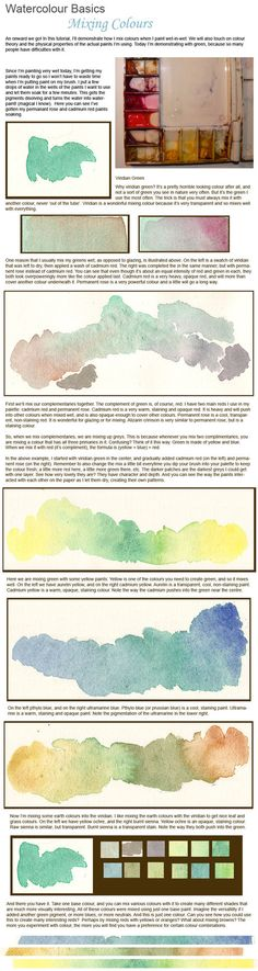 Watercolour Basics - Greens by the-artists-cubby on deviantART