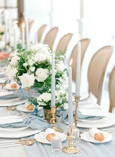 Top 5 Dusty Blue Wedding Color Schemes for 2020 Trends, wedding reception ideas Wedding Table Decorations, Wedding Table Settings, Bridal Shower Decorations, Wedding Centerpieces, Tall Centerpiece, Elegant Table Settings, Wedding Tables, Wedding Reception, Blue Wedding Flowers