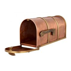Rustic Post Mount Copper Mailbox with Brass Accents