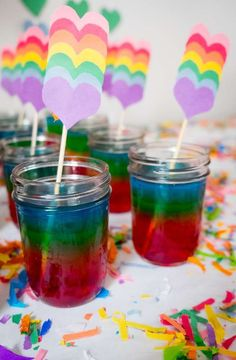 Don't miss these colorful rainbow jello pots at this My Little Pony Birthday Party! See more party ideas and share yours at CatchMyParty.com #rainbow #mylittlepony