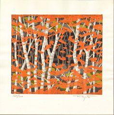 Fumio Fujita Japanese Woodblock Print - Autumn