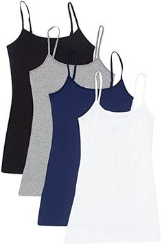 99f8e17fbe8a8 4 Pack  Active Basic Cami Tanks White Black Charcoal Navy) 4 Pack Active  Basic Camis Juniors and Plus Sizing Model wears small.