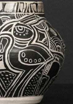 Black And White Vase, African Pottery, China Clay, Pretoria, White China, Classic Chic, Tribal Tattoos, Carving, South Africa