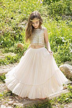 dd4adf13 Gold Boho-chic Flower Girl Dress, Junior Bridesmaid Dress, Boho champagne  skirt and gold top set, boho flower girl dress, Bohemian Wedding