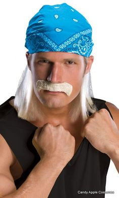 Look like an 80's wrestler in this adult blonde wig with bandana and matching blonde mustache! Men's costume wig; one size fits adults and older children.