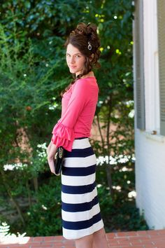Dainty Jewell's Original Pencil Skirt in Navy and White Stripes: Modest fashion and bridesmaid styles, ruffles, lace at www.daintyjewells.com