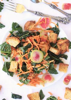 Winter Panzanella Salad with Kale, Carrots, & Watermelon Radishes