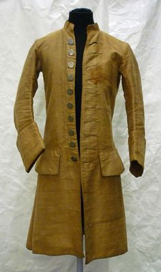Coat Place of origin: Great Britain (made) Date: (made) Materials and Techniques: Linen, cotton, pewter; 18th Century Clothing, 18th Century Fashion, Historical Costume, Historical Clothing, Men's Clothing, Vintage Outfits, Vintage Fashion, Vintage Dresses, Mode Masculine
