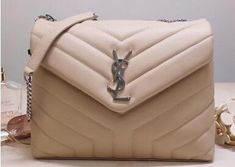 """2020 Cheap Saint Laurent Loulou Small Bag In Matelasse """"Y"""" Leather Beige"""