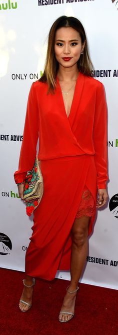 Jamie Chung in a red dress