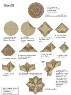 Risultati immagini per tea bag folding round tiles