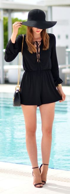 Black Lace Up Romper Fall Inspo by Vogue Haus