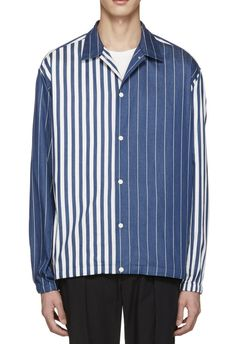 Tomorrowland Blue Coach Stripe Shirt from SSENSE (men, style, fashion, clothing, shopping, recommendations, stylish, menswear, male, streetstyle, inspo, outfit, fall, winter, spring, summer, personal)