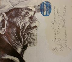 Mark Powell draws incredibly detailed, sumptuous portraits on the backs of vintage envelopes with nothing but a regular old Bic Biro pen Portrait Drawing, Ink Art, Mail Art, Art Drawings Sketches, Drawing Sketches, Art, Mark Powell, Portrait, Envelope Art