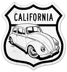 Custom metal street sign featuring a VW Beetle by SIN Customs artist Ryan Curtis