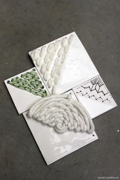 Ceramic tiles embroidery// Coralie Bonnet