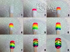 Rainbow fade and Zebra print nail art tutorial  | See more at http://www.nailsss.com/acrylic-nails-ideas/3/