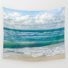This Tropical Ocean Wall Tapestry with Miami Beach with ocean and blue sky is perfect for a beach cottage or coastal theme home decor. This is wonderful ocean and beach gift! Also it is easy and affordable way to create your happy place and it looks amazing! Dont forget - you can personalized it, just let me know!  Available in 6 sizes: - Small with grommets: 26x36 - Medium with grommets: 50x59 - Large with grommets: 59x80 - Small (no grommets): 51 x 60 - Medium (no grommets): 68 x 80…