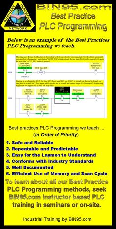 An example of  the Best Practices  PLC Programming we teach. To learn more see www.bin95.com instructor based PLC training.