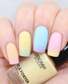 Beauty: Double French Nail Art Tutorial (Demelza's World) - Nails 💅 Spring Nail Art, Spring Nails, Summer Nails, Spring Art, Pastel Nail Art, Cool Nail Art, Pastel Colors, Colorful Nail, Pastel Shades