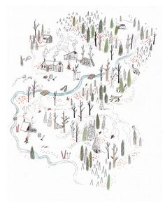 Illustrated map of Red Mountain Resort, Rossland, BC, 2011 - Sarah Burwash Street Art Graffiti, Landscape Illustration, Illustration Art, Mountain Illustration, Map Design, Graphic Design, Wow Art, Illustrators, How To Draw Hands