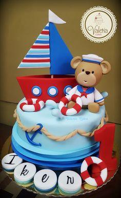 Increíbles Tortas de Osos, ¡No te las pierdas!   ALONECARDS #torta #cake #tortadecorada #cakedecorating #tortadeoso #bearcake #comida #food #postre #delicioso Anchor Birthday Cakes, Toddler Birthday Cakes, Baby Boy 1st Birthday Party, First Birthday Cakes, Sailor Cake, Rodjendanske Torte, Torta Baby Shower, Ocean Cakes, Bithday Cake