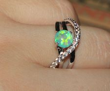 fire opal Cz ring gemstone silver jewelry Sz 8 elegant cocktail engagement G99