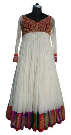 White color floor length anarkali suit – Panache Haute Couture