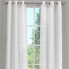 Sahara White Linen Sheer Gauze Tie Top Curtain 52 Quot W X 96