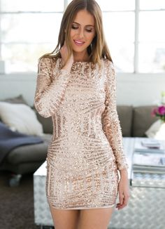 Rose Gold Long Sleeve Open Back Bodycon Sequin Dress for only $79.00. Browse the UsTrendy catalog for the latest trends in indie fashion!
