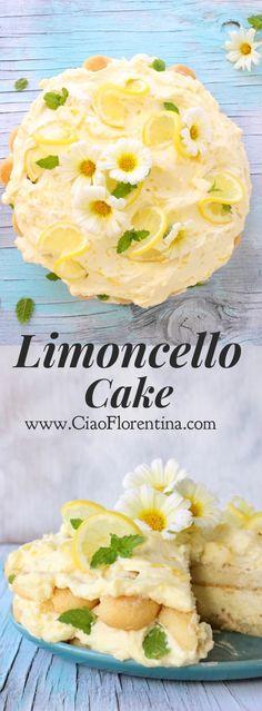 Limoncello Cake Recipe or Lemon Tiramisu Lemon Desserts, Lemon Recipes, Just Desserts, Delicious Desserts, Yummy Food, Italian Desserts, Lemon Tiramisu, Limoncello Cake, Tiramisu Recipe