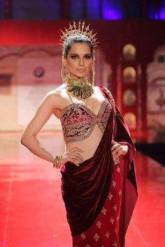 Suneet Varma Red Embroidered #Saree With Corset Style #Blouse At BMW IBFW 2014.