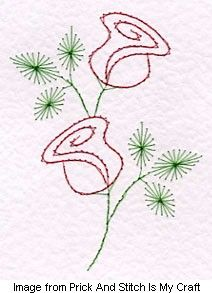Paper Embroidery Patterns rose Embroidery on Paper - DJ of Prick And Stitch Is My Craft is sharing her original pattern for a sweet pair of roses. She says, This beautiful rose pattern is easy for beginners to stitch and if you are experienced at gre… Pillow Embroidery, Embroidery Cards, Embroidery Transfers, Embroidery Patterns Free, Card Patterns, Hand Embroidery Designs, Vintage Embroidery, Cross Stitch Embroidery, Machine Embroidery