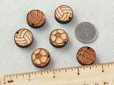 Sport Ball Set  collection of 6pcs wooden charms beads by Schmaser