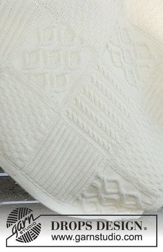 """Warm Hug / DROPS - Knitted DROPS blanket with squares in different structured patterns in """"Nepal"""". Baby Knitting Patterns, Knitting Stiches, Free Knitting, Stitch Patterns, Drops Design, Wool Quilts, Crochet Quilt, Knitted Baby Blankets, How To Purl Knit"""