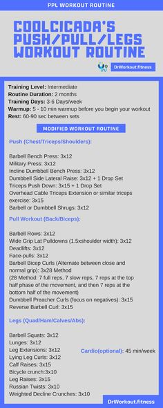 About Coolcicada PPL Coolcicada PPl workout routine is designed for intermediate bodybuilders who want to gain more muscle and mass. As the name indicates Coolcicada's push/pull/legs workout plan consist of 3 workout days. The main advantage of this PPL… Push Pull Workout Routine, Push Pull Legs Workout, Push Workout, Workout Splits, Workout Fitness, Push Pull Legs Program, Boxing Workout Routine, Body Weight Leg Workout, Leg Workout Plan