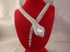 Butler Wilson Style Crystal Snake rhinestone necklace Statement Princess Royal