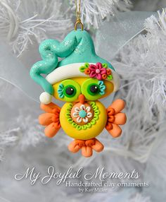 What an adorable inspiring little bird!! Handcrafted Polymer Clay Owl Ornament by Kay Miller on Etsy.