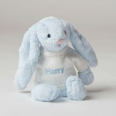 A personalised blue bashful bunny, which is beautifully soft, floppy and cuddly. The perfect gift for any newborn and one that will be treasured and snuggled forever. Packaged in a beautiful Gift Box as shown.