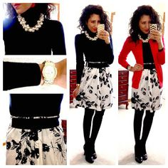 confessions of an introvert. A flowy floral skirt worn with warm winter layers. Wear black tights with black heels for super long legs. also the black belt over the skirt visually extends her waist/torso Business Casual Outfits, Classy Outfits, Cute Outfits, Business Clothes, Winter Outfits For Work, Fall Outfits, Work Outfits, Outfit Formal Mujer, Hello Gorgeous Blog