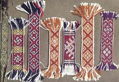 Except for the first band all the bands are wool and linen from a Livonian archaeological site found near the river Daugava and dated 12th and 13th century.(by Inese Krūmiņa; weavershand)