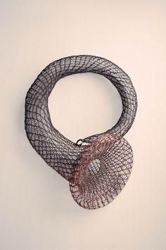 ZERO CITY 4 NECKLACE,  copper wire crocheted art object jewelry, Ksenia Vokhmentseva, 2014
