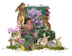 """""""Bunnies...Bunnies... Everywhere!"""" by sylvia-cameojewels ❤ liked on Polyvore featuring art, bunnies, artexpression and artcreativity"""