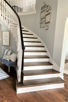 5 Tips: Adding Hardwood to Curved Staircase - thetarnishedjewelblog Staircase Railings, Curved Staircase, Banisters, Staircase Design, Stairways, Hardwood Stairs, Wooden Stairs, Dark Hardwood, Hardwood Floors