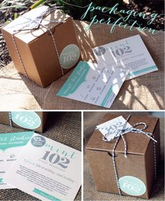 MintPackaging. I really like the classic look of the cardboard boxes tied with string coupled with the eggshell blue.