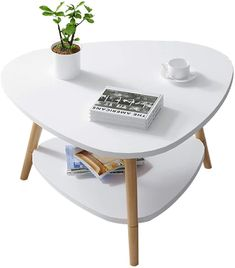 YULAN 2-Couche Side Table Basse Table Ovale en Bois rétro Table à thé Salon Balcon Petit Appartement Canapé 60 * 60 * 42cm (Color : White) White Apartment Home Living, Home Living Room, Small Coffee Table, Coffee Tables, Pot Rack, Flower Stands, Plant Shelves, Living Room Flooring, Quality Furniture