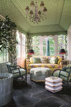 Sun Room - An irreverent take on English country-house style - a home filled with outlandish pattern and colour - real homes on HOUSE by House & Garden