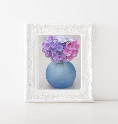 Hydrangeas in Blue Sea Glass Vase- Still Life Flower Photography- Blue, Pink and Purple Wall Art- Contemporary Floral Photograph