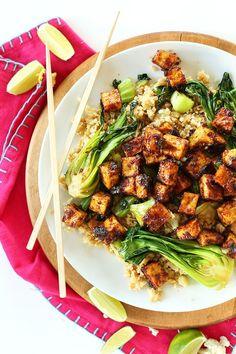 Easy Crispy Tofu in a 5-ingredient Peanut Glaze with Cauliflower Rice